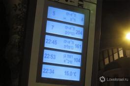 Табло с  расписанием автобусных рейсов в Тель-Авиве.